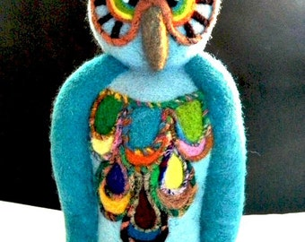 Needle Felt - Wool Owl - Tropical Colors - Soft Sculpture - Owl Decor - Citrus Colors - Table Top Decor- Blue Owl - Felted Owl - Large Owl
