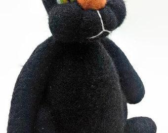 Needle Felted - Black Cat - Halloween Decor - Soft Sculpture - Table Top Decor, Shelf Decor - Wool Cat