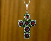"""VINTAGE Millefiori Cross with Sterling Silver bail and SS 18"""" box chain"""