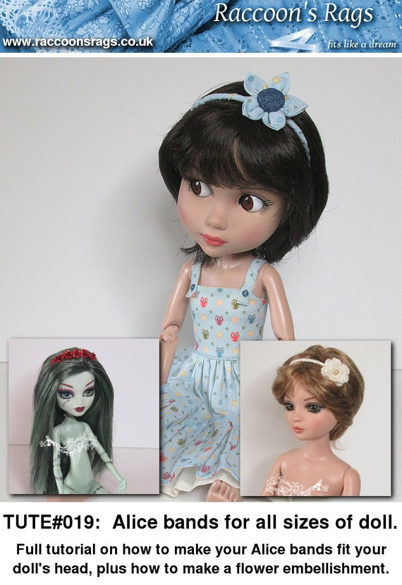 PDF Full tutorial TUTE#019 - Alice bands to fit any size of doll's head.  Including flower embellishment.