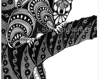 Zentangle-Inpired Possums Print - Unmatted