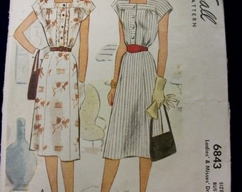 Vintage 1940s McCall Dress Sewing Pattern . 6843 Cap Sleeve Dress . Ladies & Misses Size 16 Bust 34