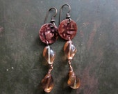 Eat a Peach - Rustic Boho Earrings of Vintage Twisted Peach Glass and Embossed Copper