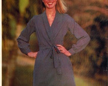 Vintage 70s Dress Pattern w/belt Butterick 6596 See & Sew Loose Fitting Front Wrap Dress Shawl Collar Long Sleeves Sizes 14-16-18 Bust 36-40