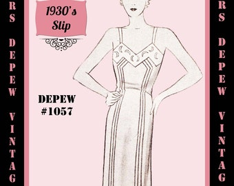 Vintage Sewing Pattern 1930's French Night Gown or Slip in Any Size- PLUS Size Included- Depew 1057 -INSTANT DOWNLOAD-