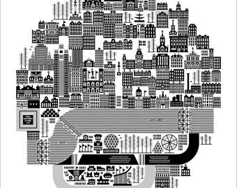 "Montreal on 27 April 1967 Expo '67 24"" Square Silkscreened Art Print by Raymond Biesinger"