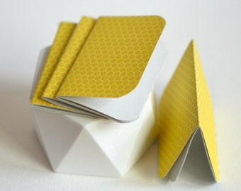 Yellow Stitched {2} Mini Notebooks   Honeycomb Print Journals   Party Favours   Gift under 5   Mothers Day   Gift for New Mom