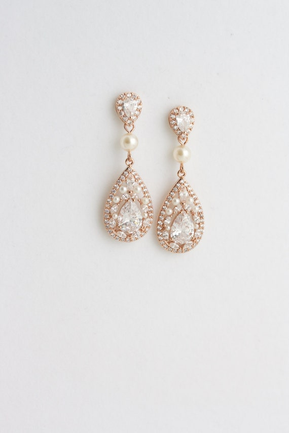 Crystal Tear Drop Earrings Rose Gold Wedding By Lulusplendor