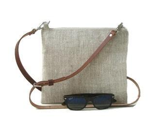 Simple Cross Body Bag, CrossBody Purse, Minimalist Bag, Linen Cross Body, Bag, Hip Bag, Cross Shoulder Strap