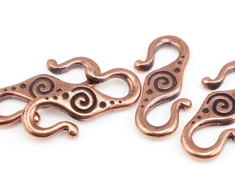 Copper Clasp TierraCast SPIRAL Hook Clasp Findings Antique Copper S Hook Toggle Clasp Necklace Findings for Kumihimo Braids (PF166)