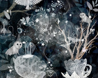 Alchemy, LIMITED EDITION owl forest art print.