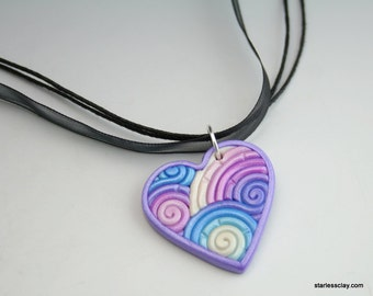 Heart Pendant in Lavender and Turquoise Fimo Clay Filigree Valentine's Day Gift