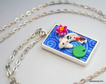 Koi Pond Necklace in Polymer Clay Filigree