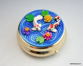 Fimo Koi Pond Pillbox Gold Plated