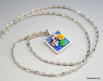 Koi Fish Necklace in Fimo Filigree Mini Square
