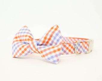 Clemson Tigers Bow Tie Dog Collar in Tri-Check