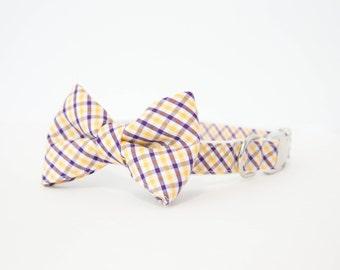 LSU Purple and Gold Gingham Dog Bowtie Collar