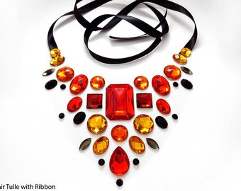 Red and Orange Floating Rhinestone Statement Necklace, Illusion Jewelry, Burlesque Jewelry