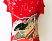 Novelty Print Blouse / Asian-Inspired Red Blouse / Memoirs of a Geisha Blouse