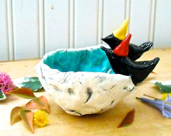Party Hat Ravens on Woodland Pond Bowl - HandMade Rustic LoveBirds Black Bird Crow, Blue Water Pond Primitive Jewelry Ring Small Geode Dish