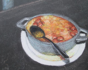 Original Pastel Painting * SOUP * Art By Rodriguez