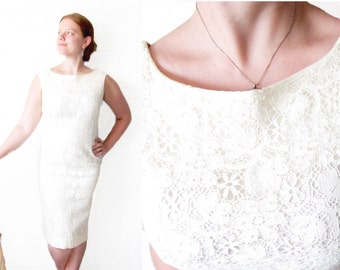 Vintage 1960s Lace Dress - Wedding Dress - Cocktail Dress - Wiggle Dress - Mid Century Off White