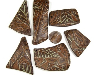 One of a Kind Totally Hand Formed Paisleaf Pottery Shard Pendants of Stoneware Clay, Tumbled Smooth, Ideal for Aromatherapy Jewelry