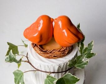 Orange Kissing Love Bird Cake Topper