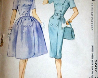 Misses' Dress With Slim or Full Skirt, McCall's 5687 Vintage 60's Sewing Pattern, Size 10, 31 Bust