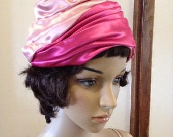 Vintage 50s Pink Satin Turban Hat by Grace Adams