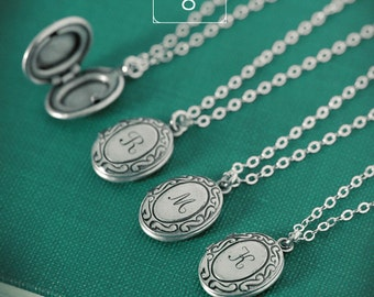 QUANTITY of 8 - Personalized Tiny Initial Locket Necklace with Your Letter on Sterling Silver Chain, Bridesmaid Gifts, Bridal Party