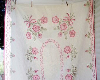 Vintage single bedspread - hand quilted and cross stitched - pink roses