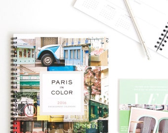 2016 Planner, Paris Calendar, Paris Photography 2016 Daily Planner, Desk Calendar, New Year Girlfriend Gift for Her