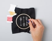 Mini Arrow Embroidery Kit - Black and White DIY kit