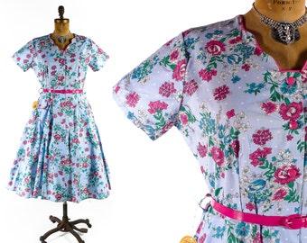 Vintage 50s Dress // 1950s Dress // 50s Cotton Dress // Plus Size 50s Dress // Floral Dress - sz XL - 35-36 Waist