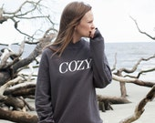 Ready To Ship! / Cozy Lettering Charcoal Heather Crewneck Sweatshirt / COZY / Ready to ship in sizes S, M, L, XL