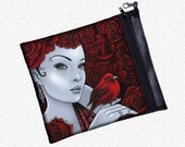 Myka Jelina Fantasy art bag, Scarlet Bird,  cosmetics pouch, pencil bag, art supply pouch, makeup bag, travel bag, wristlet, red roses