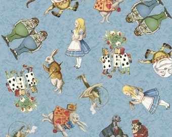 Adventures in Wonderland cotton quilting fabric Alice Characters W30850-1 Blue, half yard