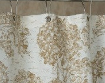 Brown Toile Shower Curtain with grommet top - 72x72 made in USA