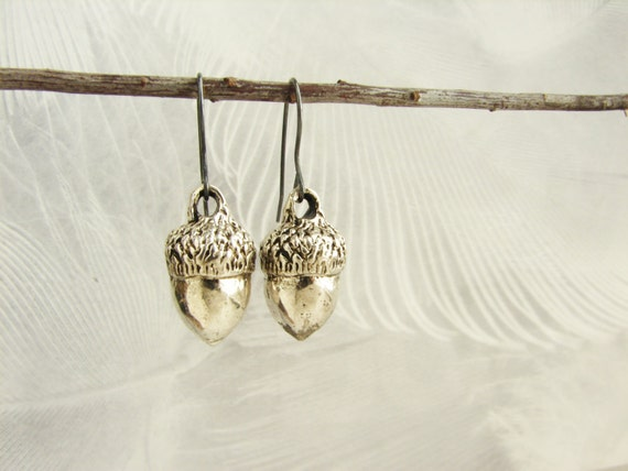 Silver acorn earrings, acorn dangle earrings, realistic acorn earrings, unexpected miracles, gift for her gift for coworkers
