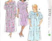 Kwik Sew 2172 Misses Yoked Duster and Pullover Nightgown Pattern Housecoat Womens Sewing Pattern Size XS  S M L XL Bust 31 - 45 UNCUT