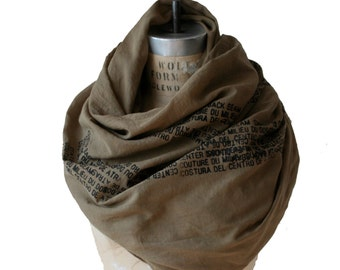 army text printed scarf, men's large scarves, fashion accessories, women's fall scarves