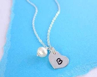 Tiny initial Necklace, Minimal layering necklace, single letter charm, freshwater pearl, sterling silver heart charm, bridesmaid gifts