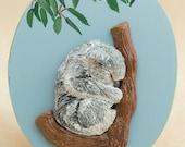 Koala Art Original Polymer Clay Bas Relief Sculpture on Wooden Keepsake Box Koala Bear Wildlife Sculpture Animal Lover Gift