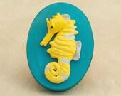 Seahorse Art Polymer Clay Sculpture on Decorative Wooden Box Ocean Art Lover Gift, Fish Art Keepsake Box