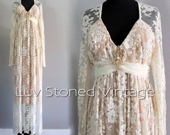 60s Vintage Ivory Lace Empire Wedding Bohemian Boho Hippie Bridal Maxi Prom Dress | ML | medium - large | D213 | 1055.7.30.15