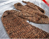 ON SALE Bamboo knitted scarf Brown and black Earth shades - For men or women