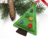 ON SALE Christmas Felt Ornament Green Buttons Tree Decoration