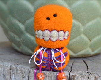 OOAK Needle Felted Orange Day of the Dead Skeleton Toy Shelf Sitter Ready to Ship