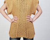 Hand knit sweater Eco cotton Tunic woman sweater rolled edge Kimono sleeve woman sweater Mustard Yellow